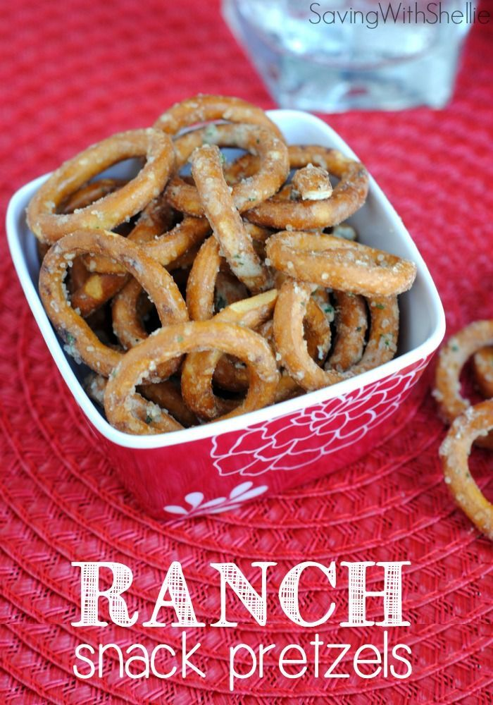 Snack Pretzels Ranch Snack Pretzels are a simple snack idea when you are having company. And it's easy to whip up a large batch to keep on hand for those unexpected holiday drop-in guests!Ranch Snack Pretzels are a simple snack idea when you are having company. And it's easy to whip up a large batch to keep on hand for those unexpected holiday drop-in guests!