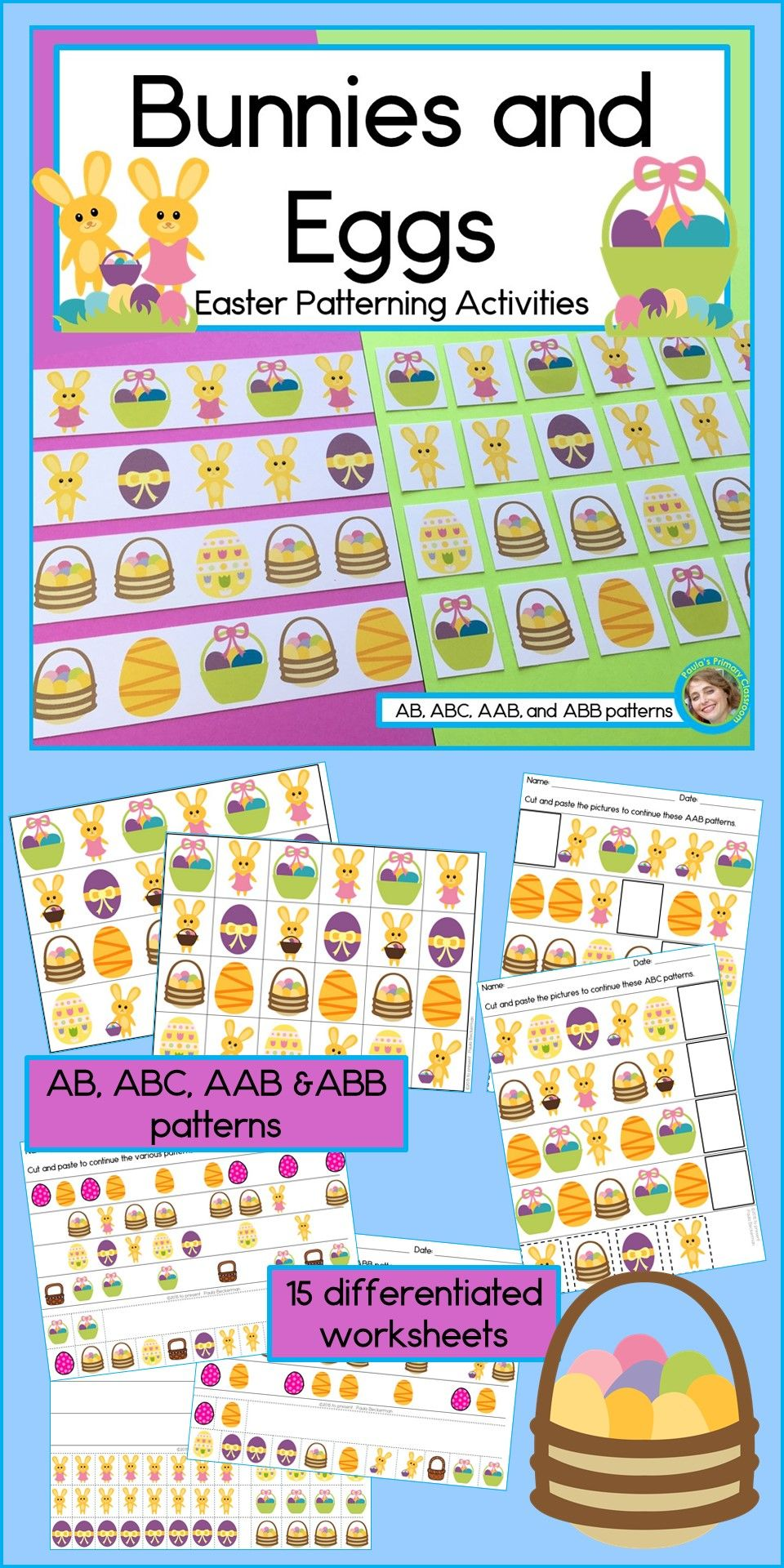 Easter Pattern Math Center With Ab Abc Aab And Abb Patterns Abb Patterns Pattern Activities Kindergarten Learning [ 1920 x 960 Pixel ]
