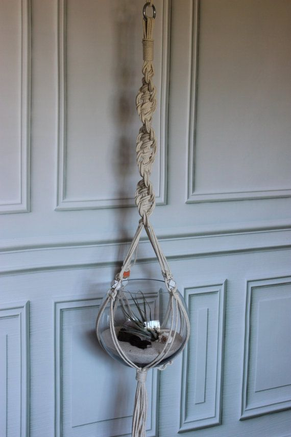 macrame planter plant hanging with 4 painted beads by macandmore