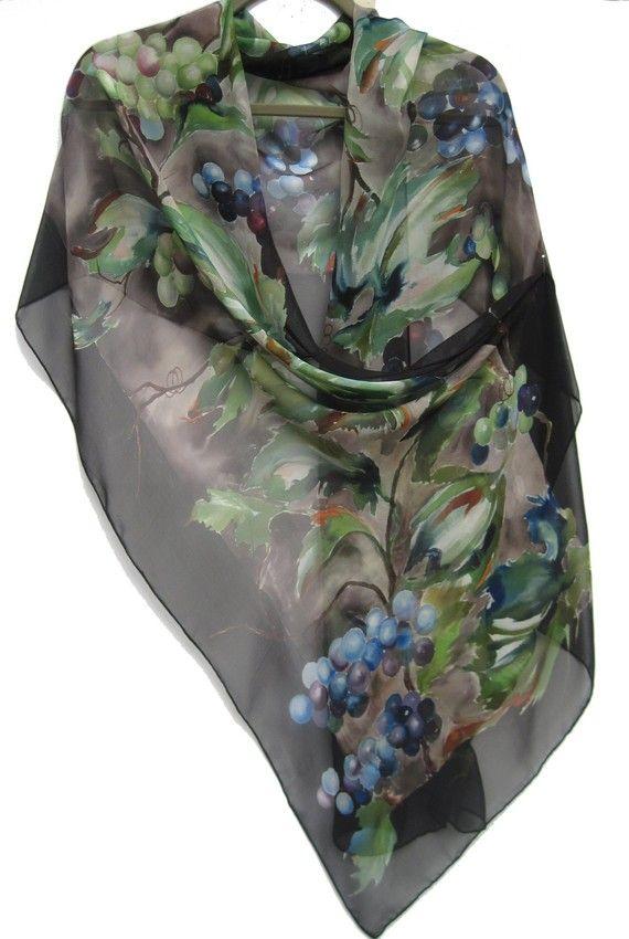 GRAPES Silk Chiffon Wrap by SilkSiren on Etsy, $300.00
