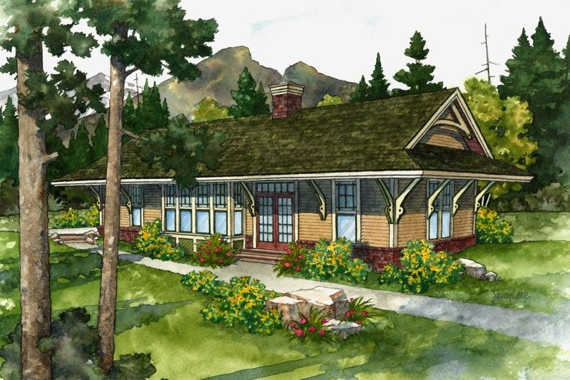 Cabin Style House Plan 2 Beds 2 Baths 1015 Sq Ft Plan 452 3 Cottage Style House Plans House Plans Cottage House Plans