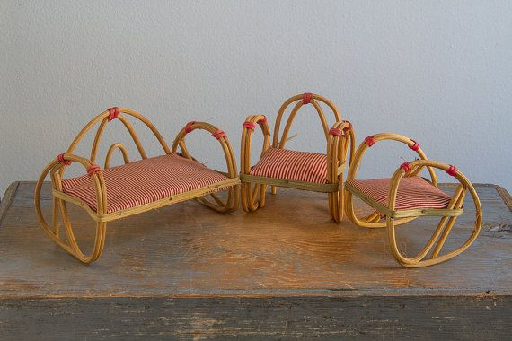 Wood & Rattan Bench / Sofa and Chairs, Made in Japan - Vintage Doll Furniture