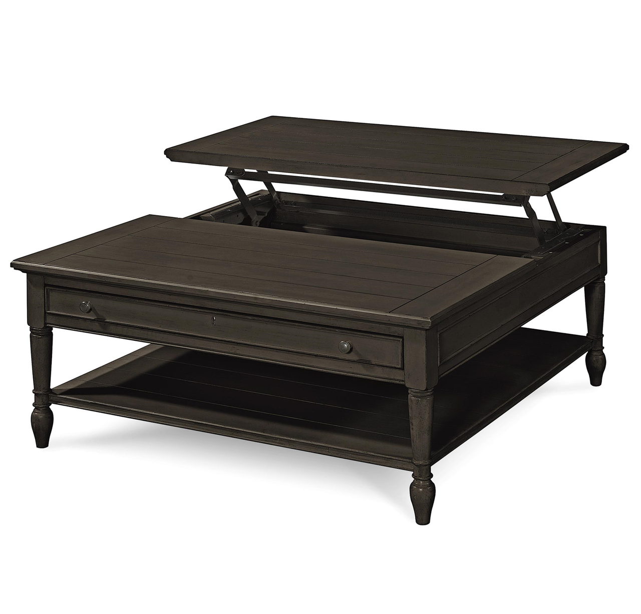 Country Chic Black Wood Square Coffee Table With Lift Top Lift