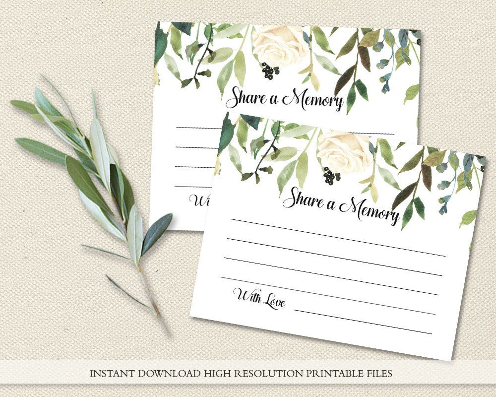 Funeral Share A Memory Card Printable Funeral Memory Card Etsy Memorial Cards For Funeral Funeral Cards Funeral Templates In loving memory cards template