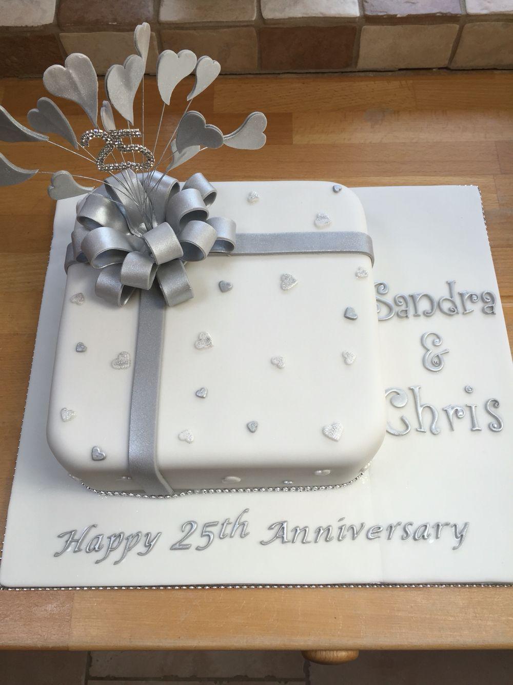 Silver anniversary cake | 25th wedding anniversary ideas | Pinterest ...