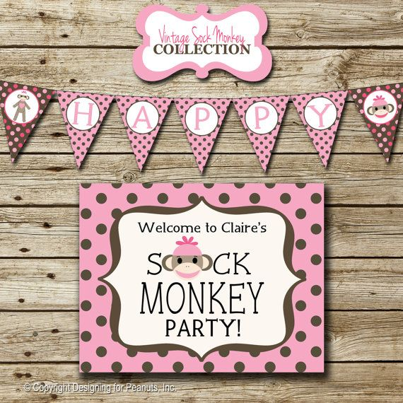 Pink Sock Monkey Birthday Party Pack printable invitation thank