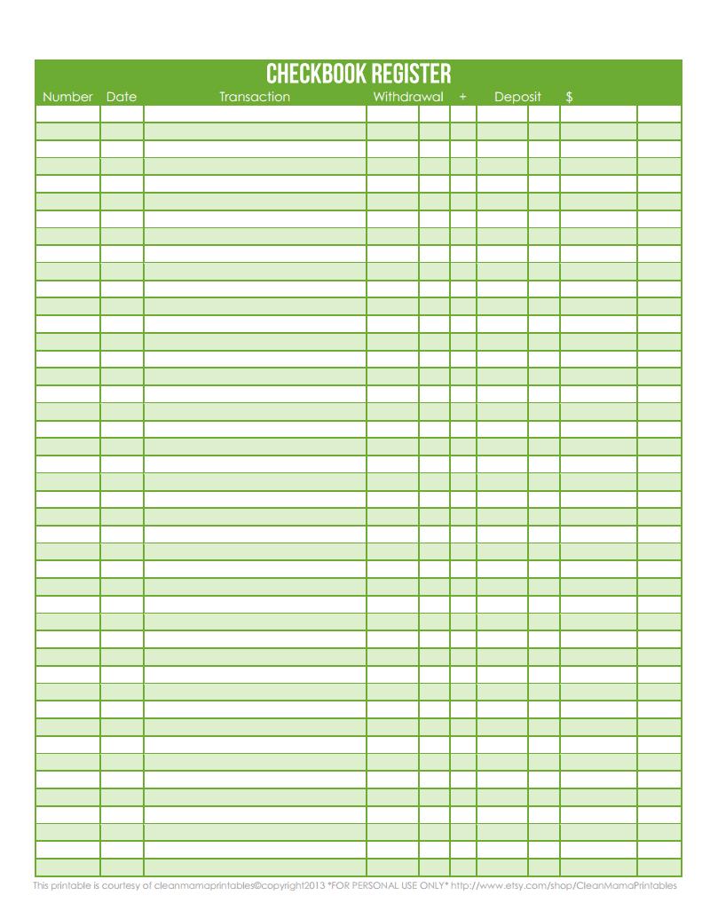 Resume Templates Google Drive Checkbook Register  Green  Courtesy Of Clean Mama Printablespdf