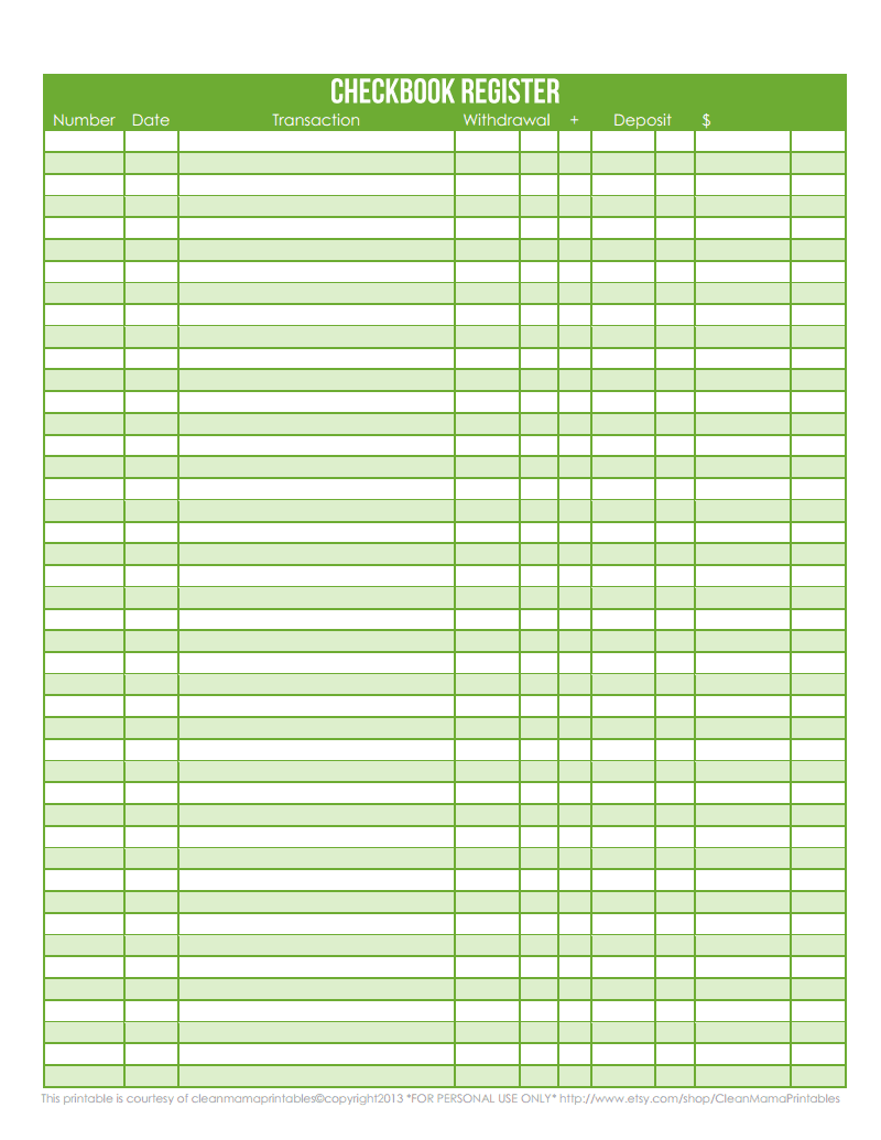 checkbook register green courtesy of clean mama printables pdf