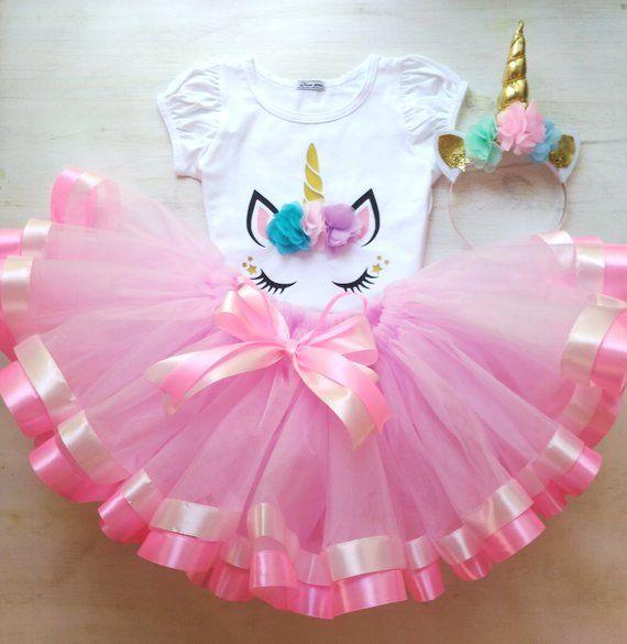 Unicorn Birthday Tutu Outfit Pink Gold 1st 2nd 3rd Unicor