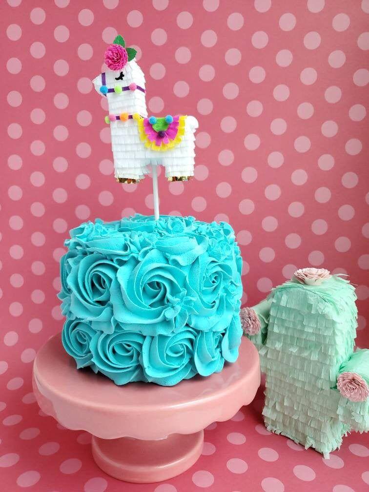 Photo of 1 Llama cake topper, Llama cake decoration, Llama birthday party decoration, Llama mini piñata cake topper, Llama mini pinata topper