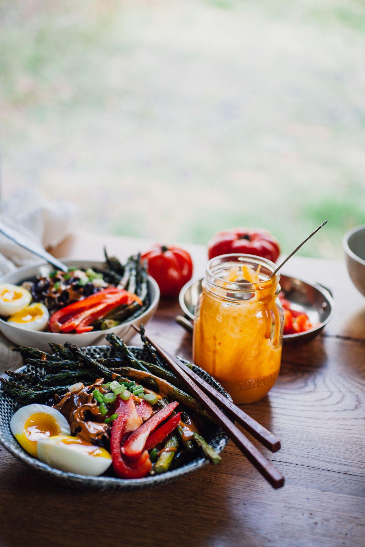 Ramen Noodle Bowls with Tahini Gochujang Sauce Asparagus