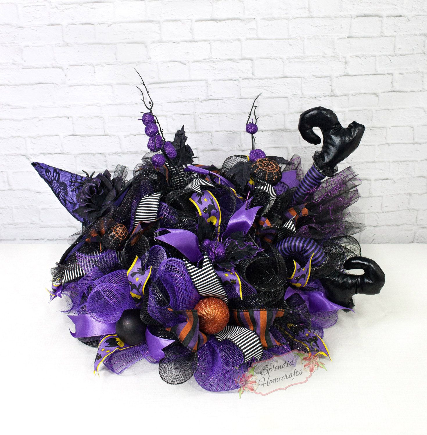 purple witch centerpiece halloween centerpiece witch leg centerpiece witch table decor by splendid - Halloween Centerpiece