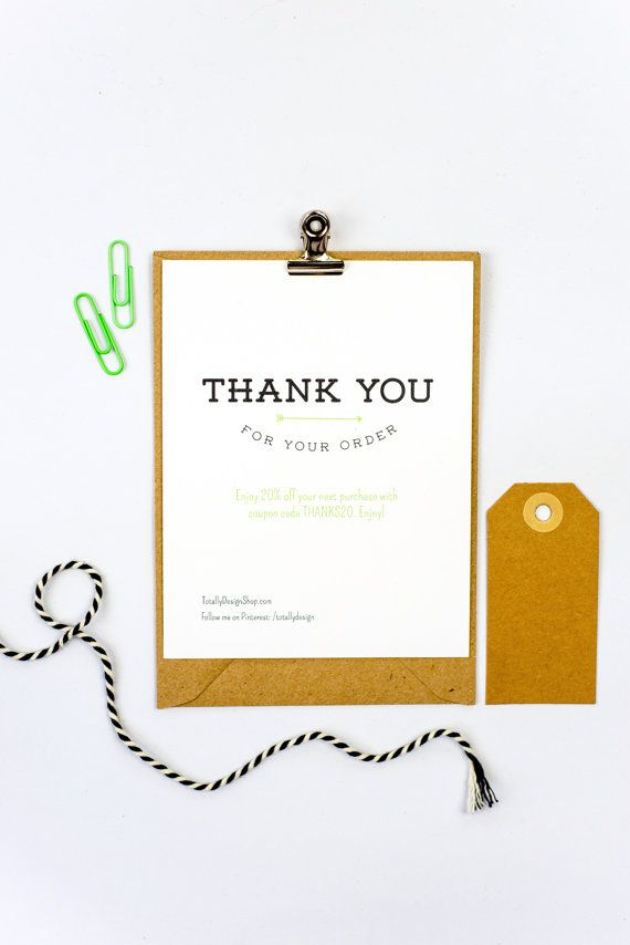 Thank you for your order card printable INSTANT DOWNLOAD - business thank you card template