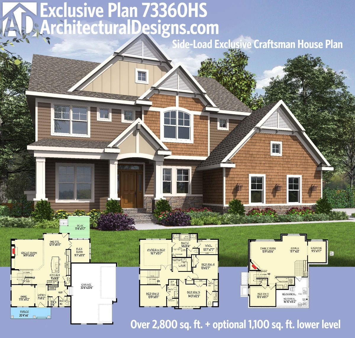 Architectural designs exclusive house plan 73360hs has a for 3 car side load garage