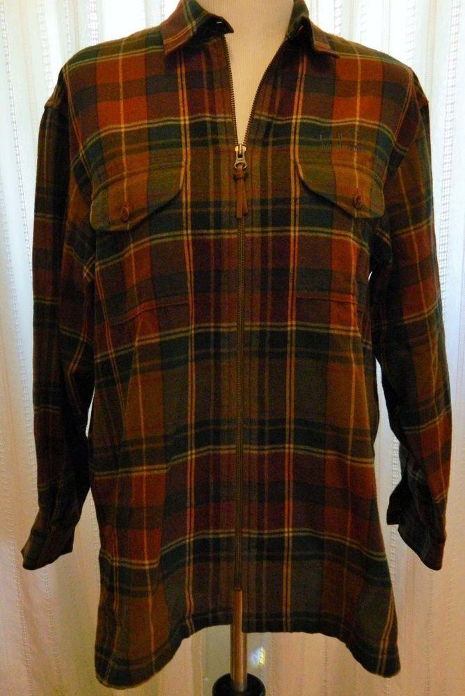 Women's Ralph Lauren Plaid Shirt Leather Elbow Patches Zip Front Brown Sz P/M #RalphLauren #ZipFront #Casual