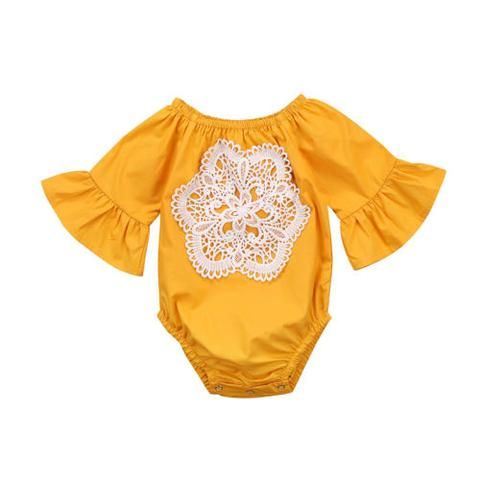 a0d6205b881 Newborn Infant Baby Girl Bodysuits Autumn Summer Long Sleeve Bodysuit Girls  Clothing Cotton Yellow Lace Flower Jumpsuit Outfits