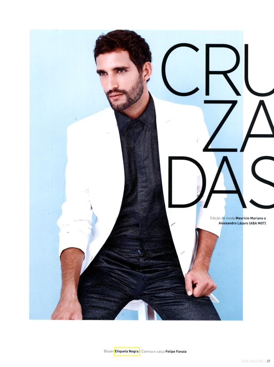 Na revista Cool lifestyle mês de agosto 2014 Ensaio Linhas Cruzadas modelo usa Blazer Etiqueta Negra.