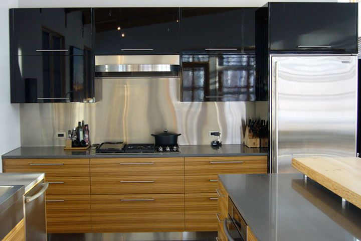Contemporary Veneer Kitchen Cabinets In Horizontal Grain Zebra Wood Environmentally Responsible