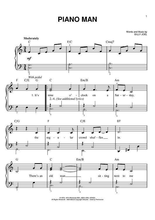 Piano Man Sheet Music Preview Page 1 Pianoclasses Piano Lessons