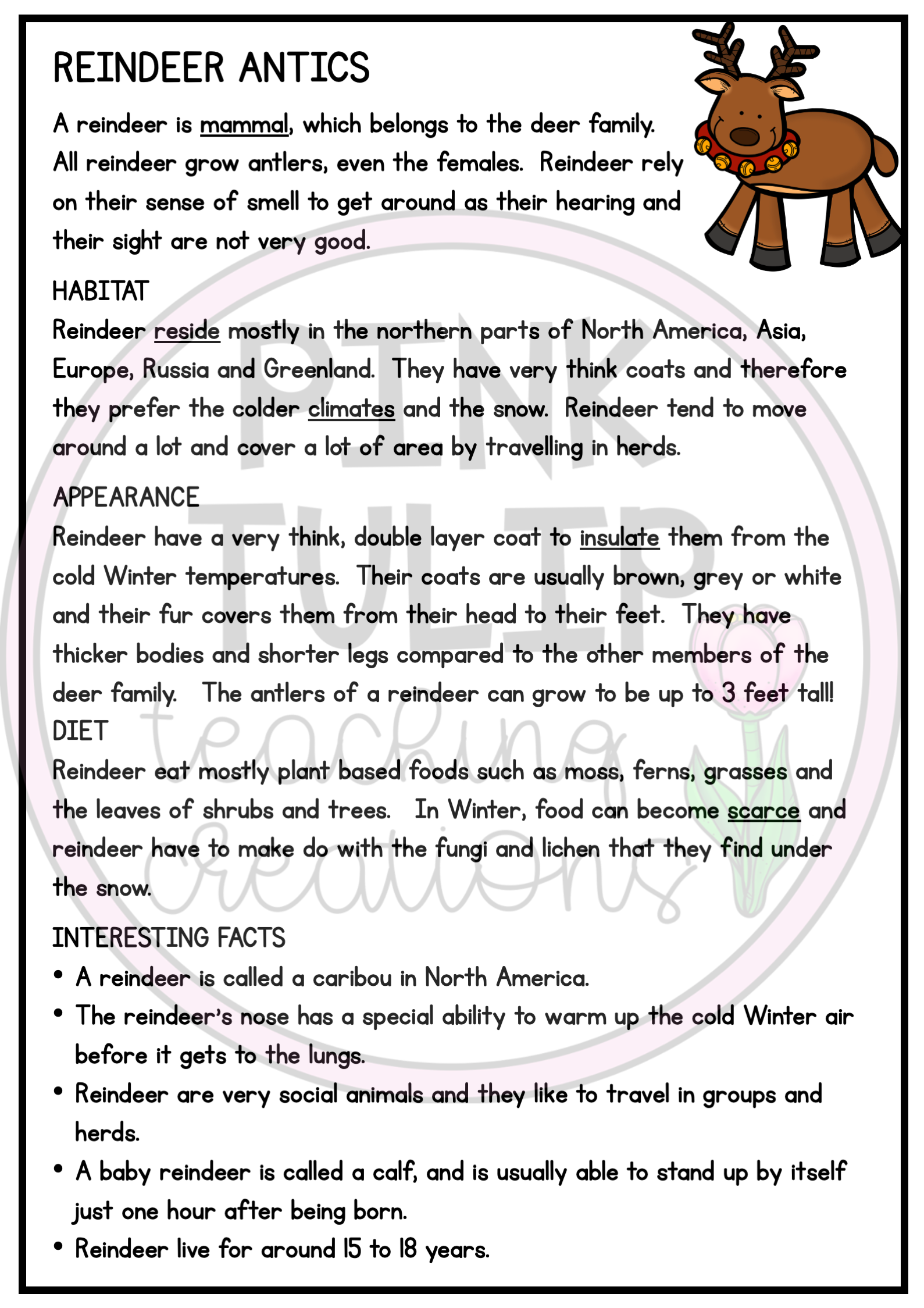 Reindeer Antics Christmas Comprehension - Reading Strategy Worksheet    Reading strategies [ 2249 x 1589 Pixel ]