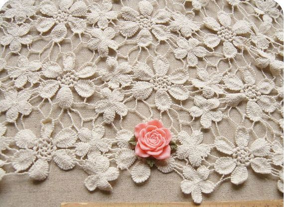 Chic Cotton Wedding Dress Fabric, Embroidered Crochet Wedding ...
