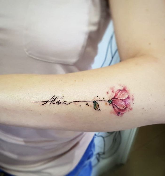 Photo of Flower with name tattoo for women,  #floralinitialtattoo #Flower #Tattoo #Women