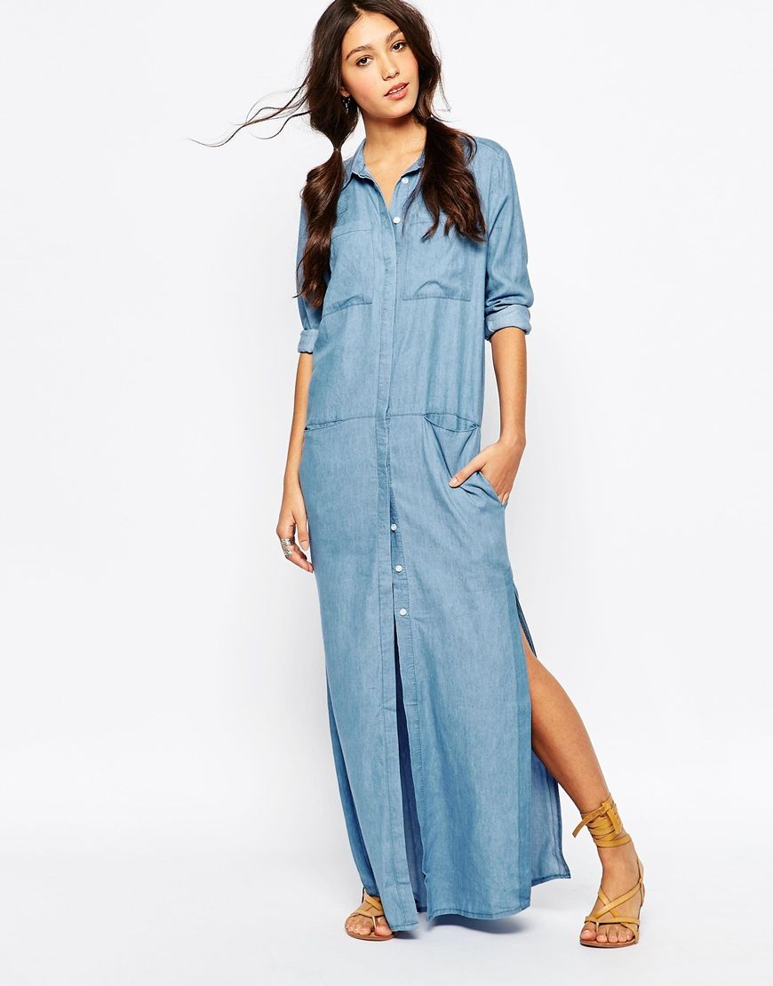 Image 4 of Daisy Street Utility Maxi Shirt Dress in Chambray Denim ...