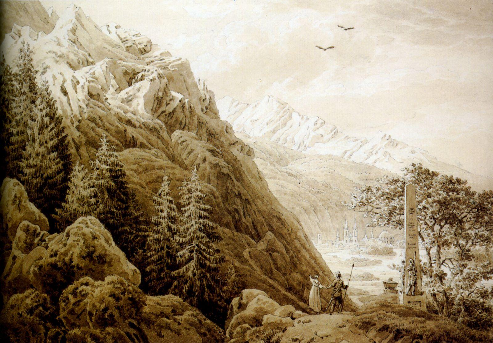 l'Automne sépia (1826) 19,1x27,5 cm Hambourg, Kunsthalle. Caspar David Friedrich