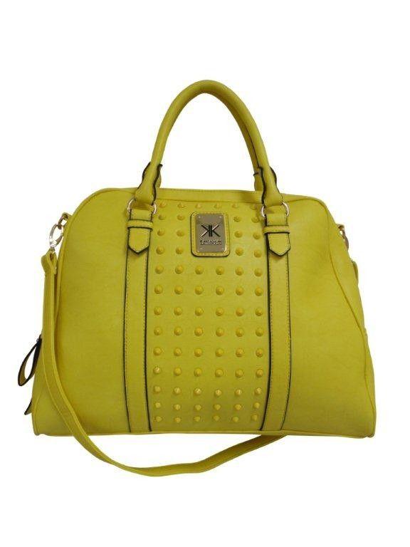 Kardashian Kollection Studded Bowler Bag Yellow