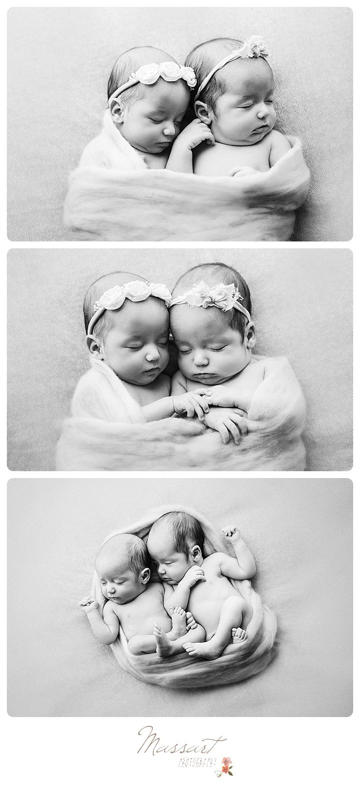 Black and white studio portraits of twin baby girls photographed by massart photography of warwick rhode island www massartphotography com