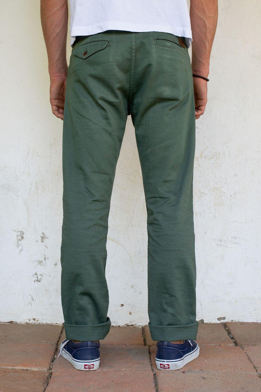 e82d60fd9 Freenote Cloth | Workers Chino Vintage Fit - Olive Herringbone | $220 |  MENSWEAR | Herringbone fabric, Herringbone, Custom Leather