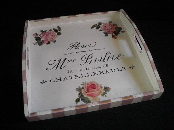 Bespoke French Country wooden tray  square by HandmadeByFiona, $42.00