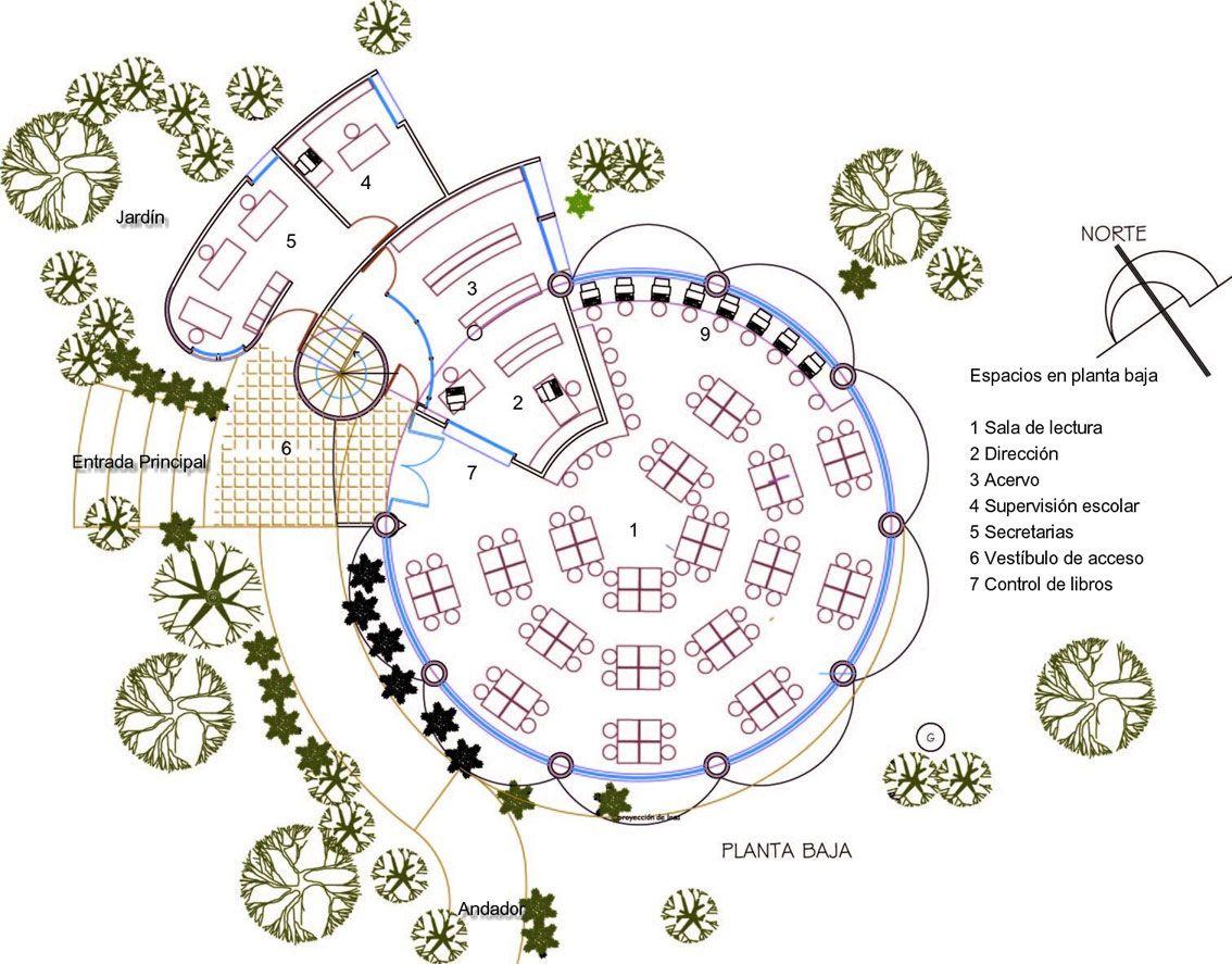 Proyecto biblioteca para escuela for Planta arquitectonica biblioteca