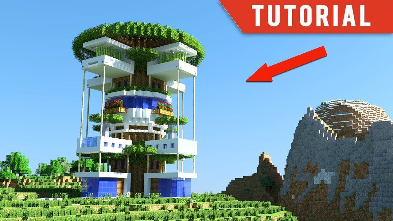 Minecraft How To Build A Modern Tree House Modern Treehouse