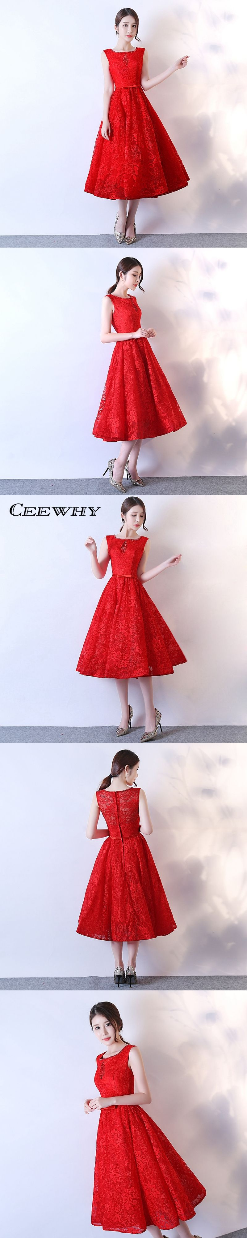 Ceewhy aline lace wedding party dress tealength evening dress real
