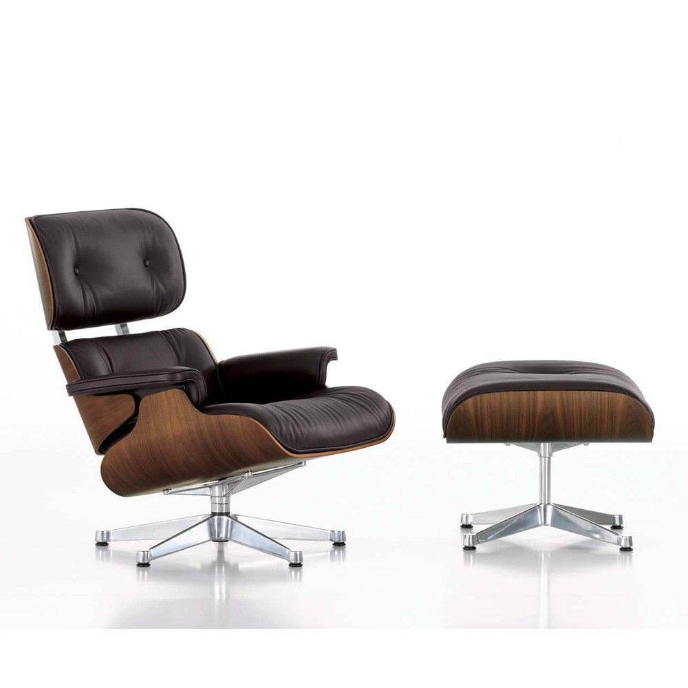 Ledersessel Lounge Sessel Lounge Chair In Nussbaum / Chocolate Mit Ottoman Von Charles Und Ray Eames | Stuhl Design, Möbeldesign, Ledersessel Braun