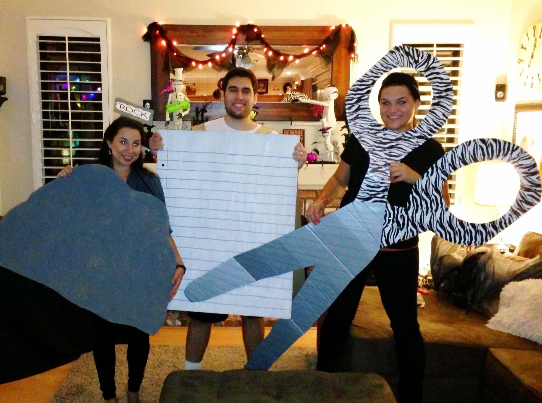 Halloween costume for a trio Rock Paper Scissors
