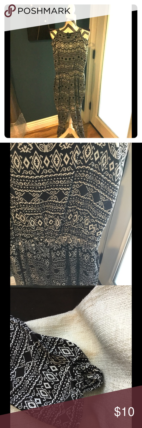 Summer jumpsuit Very light jumpsuit, perfect for summer. Spaghetti straps are adjustable, elastic on bottoms of legs and elastic waist.  I bought this but never wore it. Black and white pattern. Rue 21 Other