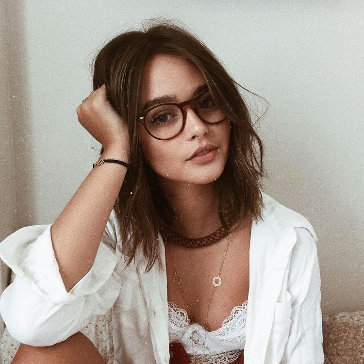 glasses nerdy Brunette with