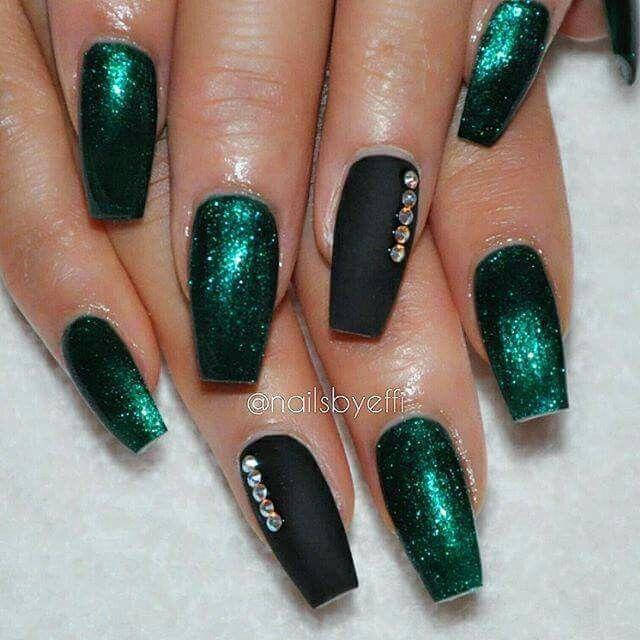 Nail Art Designs Emerald City w/ Black Matte Accent Gems | Nails ...