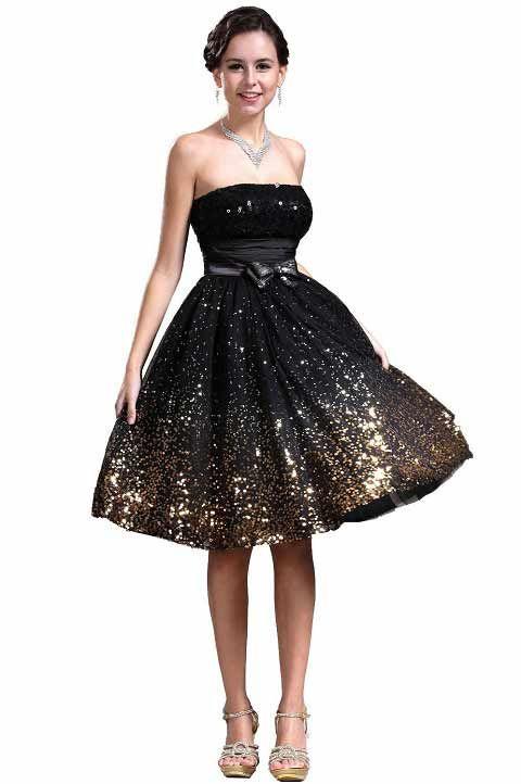 Black Sparkly Dresses Short Gold And Black Glitter Sparkly Formal