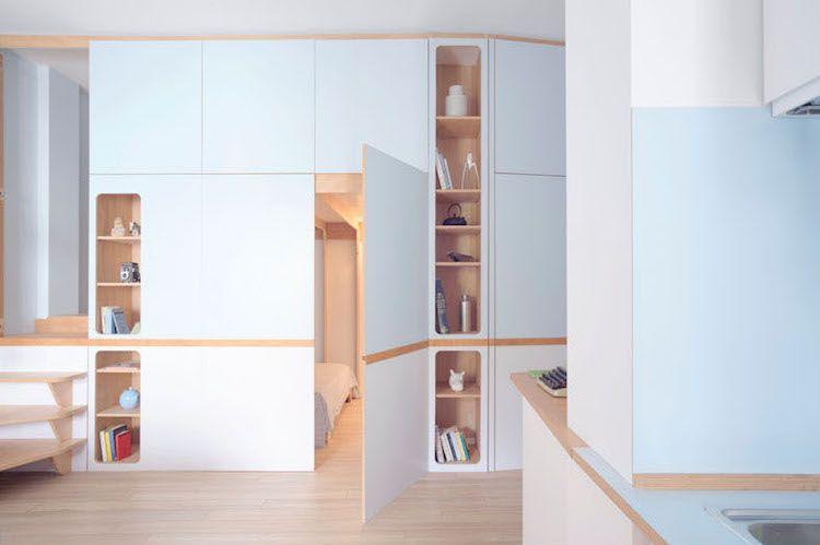 Meuble multifonction pour studio de design inspiré par la cabine d