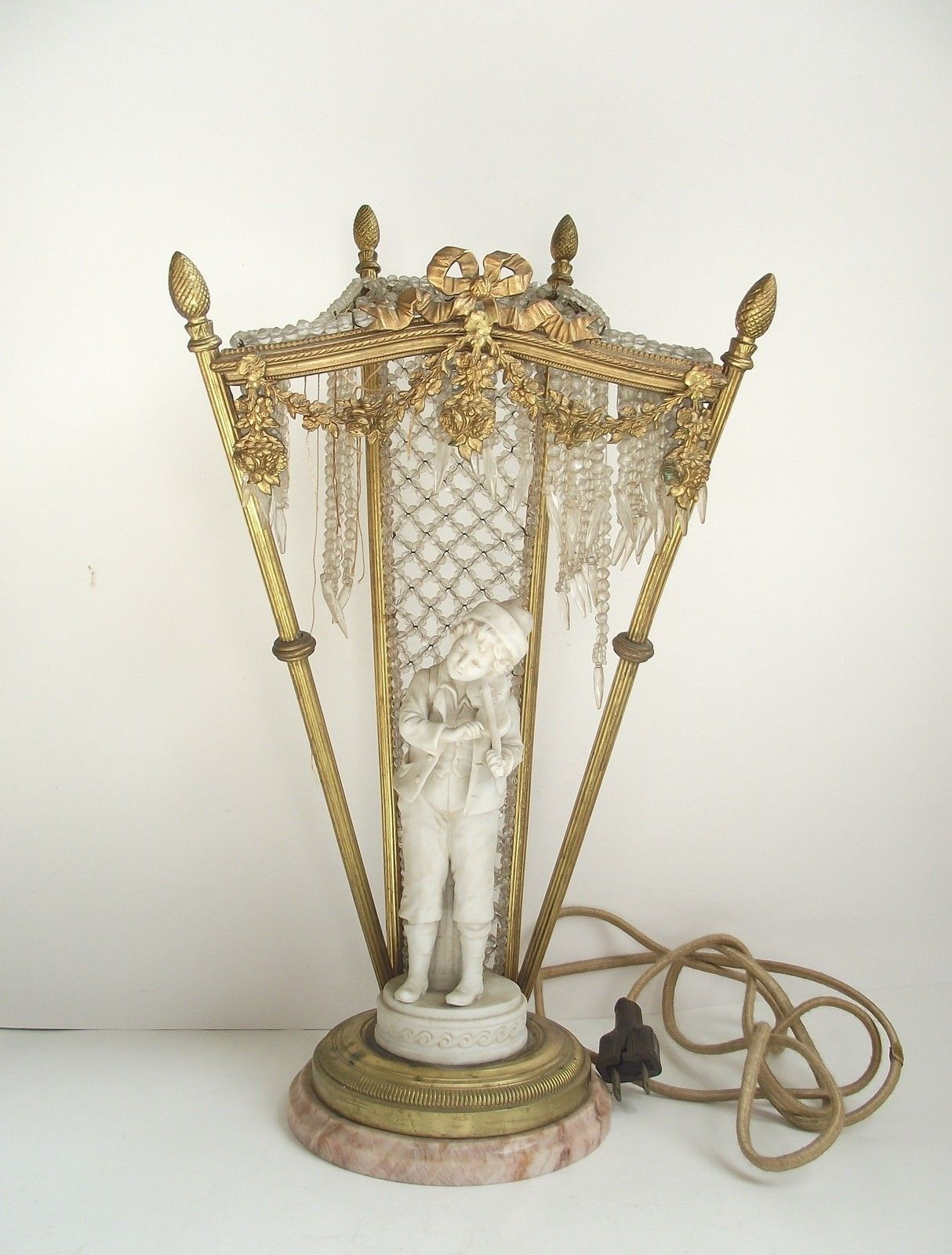 Antique French Bronze Crystal Figural Porcelain Table Lamp