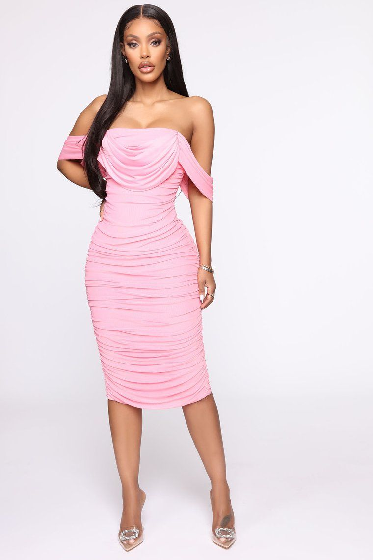 Bad For The Night Bandage Midi Dress Pink in 2020