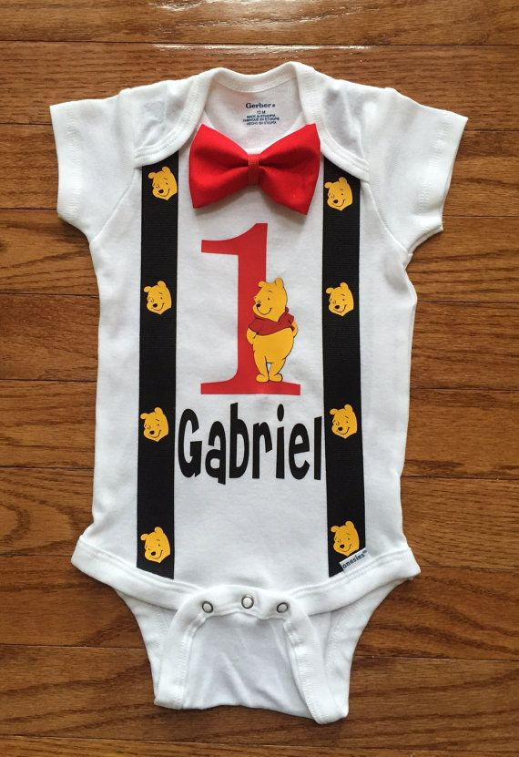1st Birthday Smash Cake winnie the pooh inspired Birthday Onesie bow tie - Long or Short Sleeve
