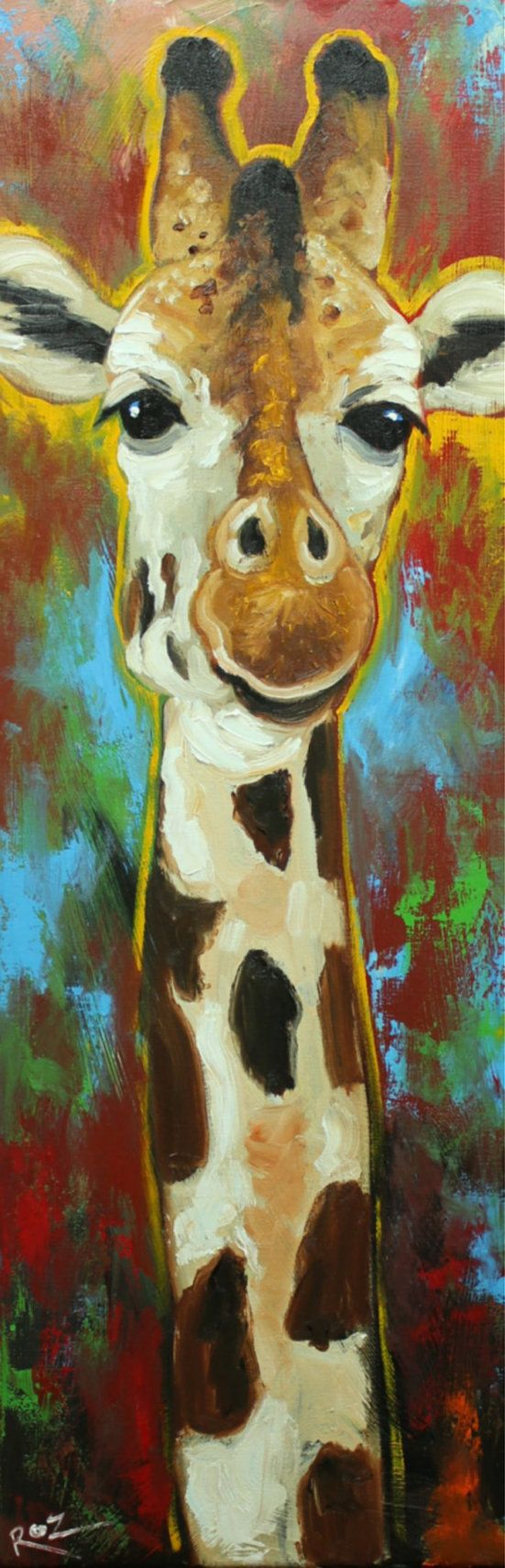 Giraffe 11 12x36 inch animal original oil painting by by RozArt