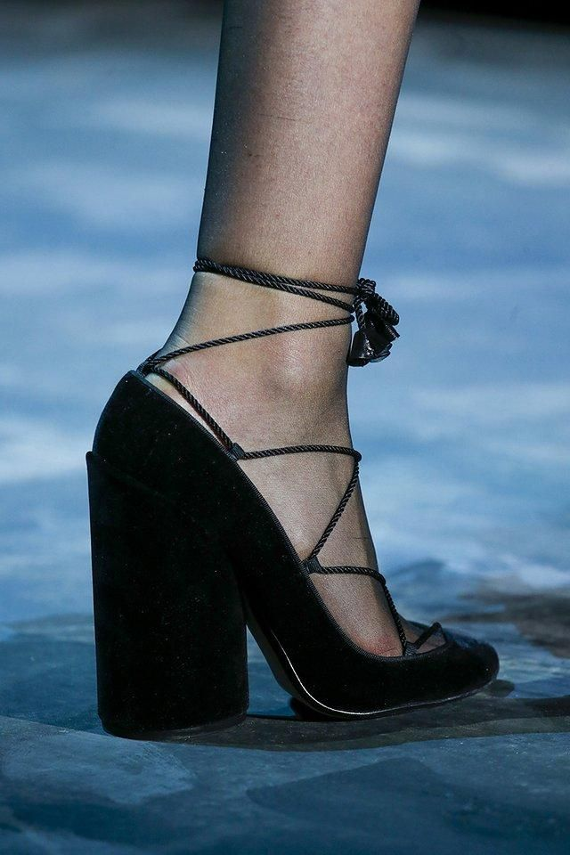 Marc Jacobs black lace-up stacked heels