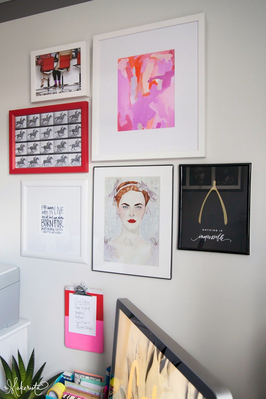 The Makerista: Red and Pink Gallery Wall in a Basement Office