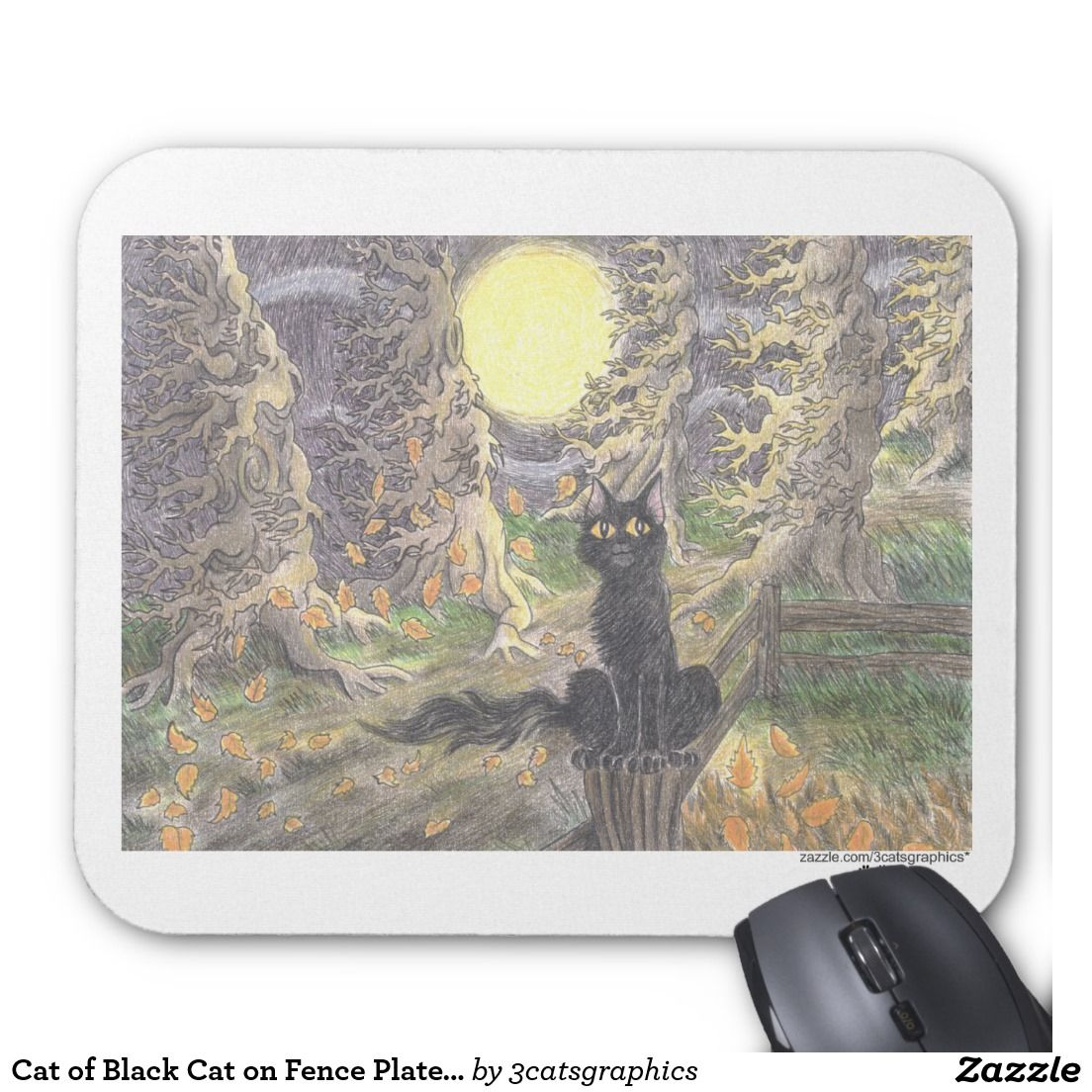 Cat of Black Cat on Fence Plate 1 Mouse Pad Black cat