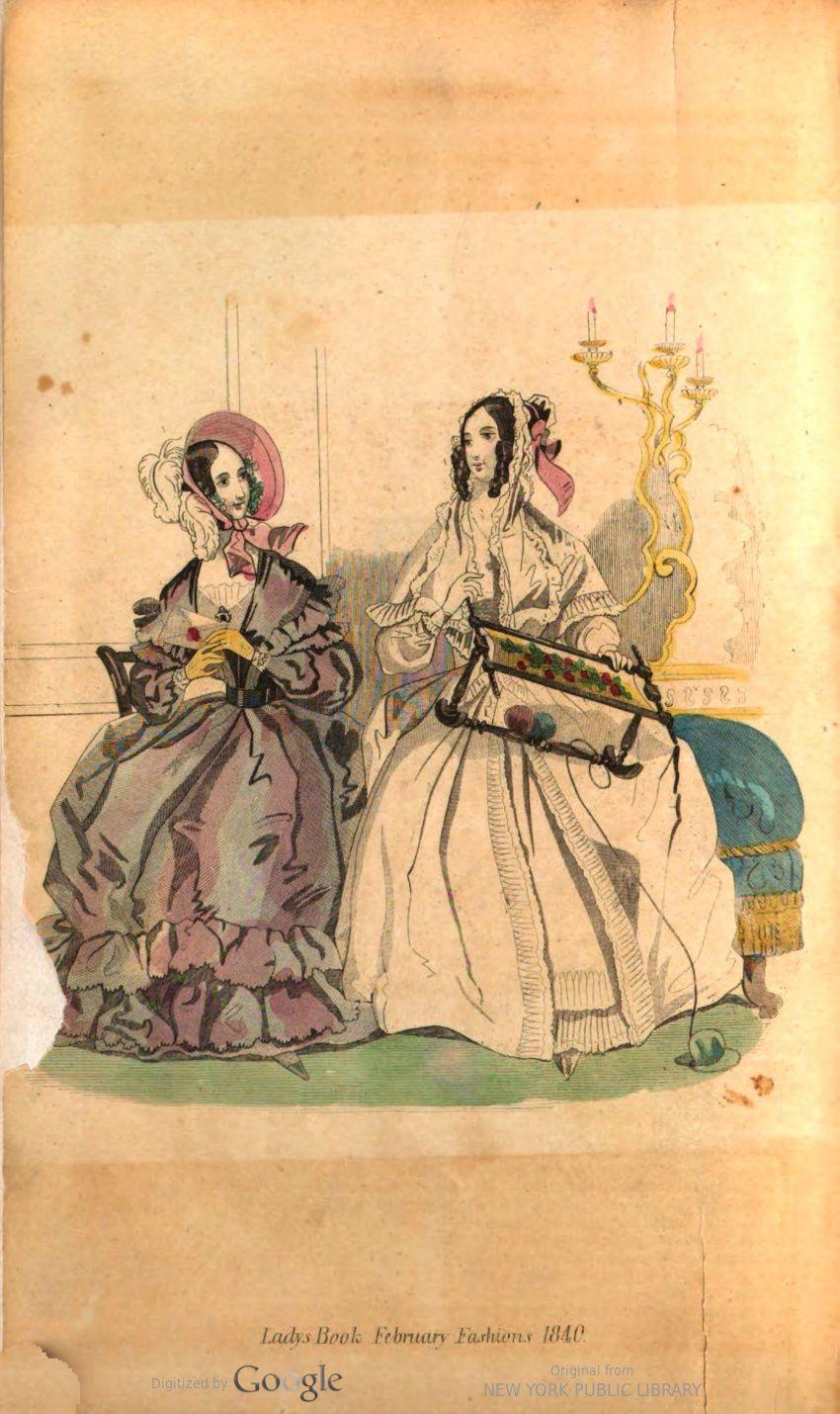 February godeys ladys book fashion plate 1840 fashion